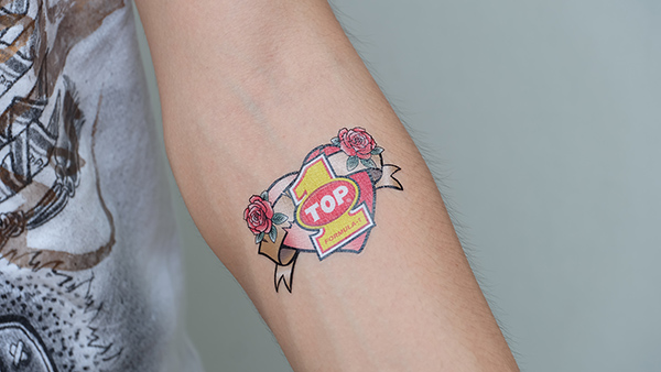 oil top one temporary tattoo